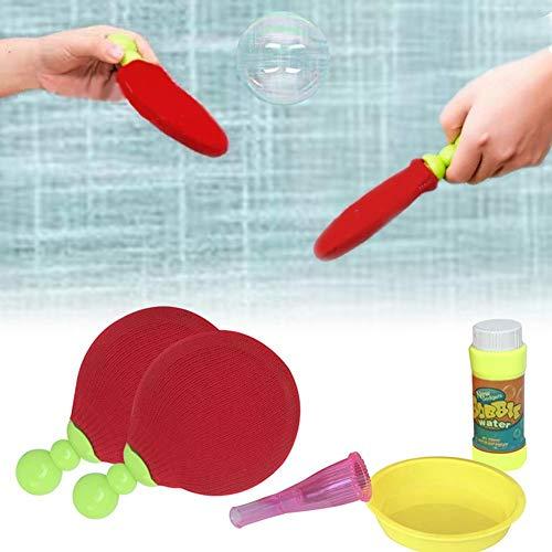 El más nuevo juguete de burbujas de tenis de mesa, raqueta de ping pong mágica con burbujajuguetes interactivos de novedad al aire libre para niños,juegos de hacer burbujas para dos jugadores juguetes