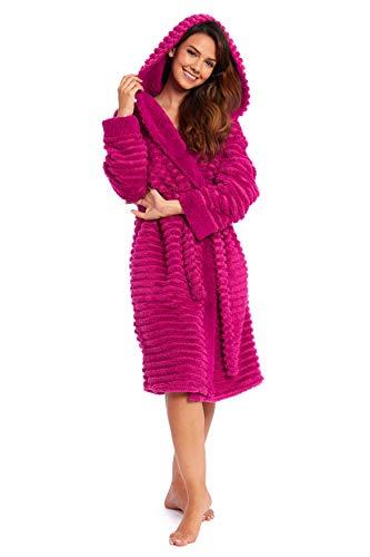 CityComfort Bademantel Damen, Morgenmantel Saunamantel, Damen Polyester  Bademantel mit Kapuze und Taschen, Sauna und Spa Zubehör Geschenke für Frauen