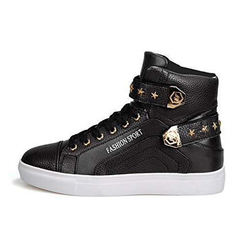 PP FASHION Men's Korean Style High Top Platform Fashion Sneaker Sports Casual Shoes Black 7.5D(M)