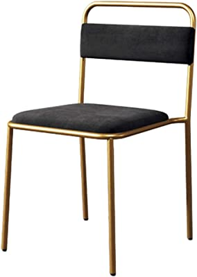 Modern Velevt Dining Chairs | Home Backrest Side Chair | Industrial Style Leisure Wrought Iron Cafe Restaurant Seat Chair,Color Optional