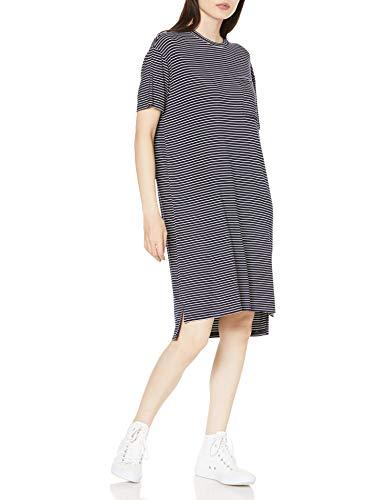 Daily Ritual Jersey Short-Sleeve Boxy Pocket T-Shirt dresses, Marineblau/Weiß gestreift, L