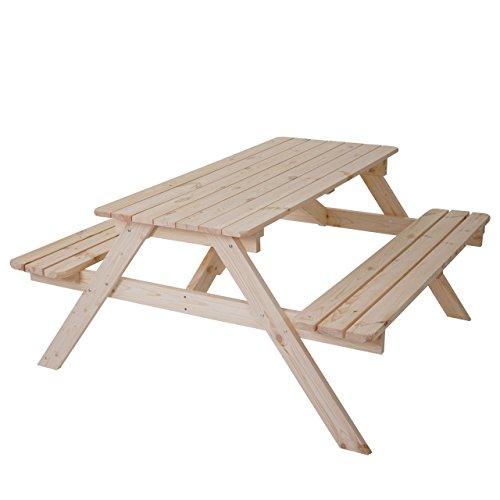 Mendler Biergarten-Garnitur Narvik, Picknick-Set, Holz Gastronomie-Qualität massiv 148x150cm