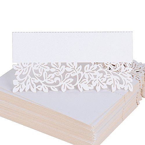 100pcs Carte de Noms en Motif Fleur Blanc Nacré Carte Table Marque Place pour Decoration Mariage Fete (8,9 x 8,9cm)