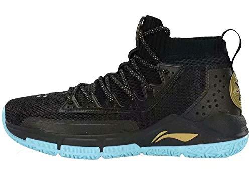 LI-NING Men Fission V Cushioning Basketball Shoes Lining Anti-Slip Professional Shock Absorption Sneakers Sports Shoes Black Blue ABAP027 US 7