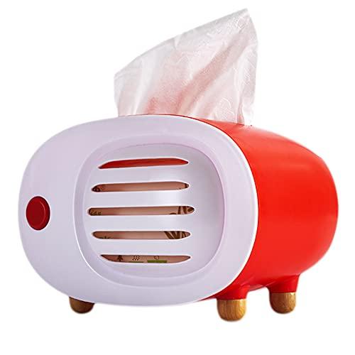 XPT Caja de pañuelos fácil de usar forma de radio ABS caja de pañuelos para el hogar sala de estar oficina decoración de escritorio rojo