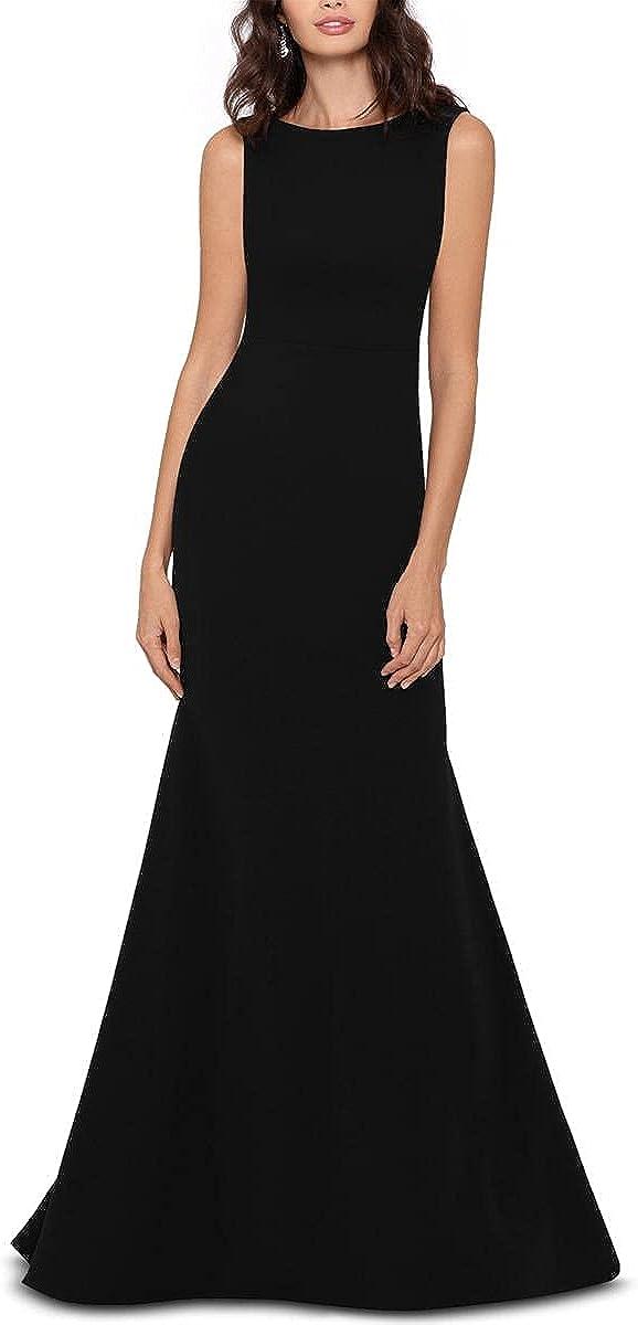 Betsy & Adam Womens Bow-Back Cascade Ruffle Evening Dress Black 2