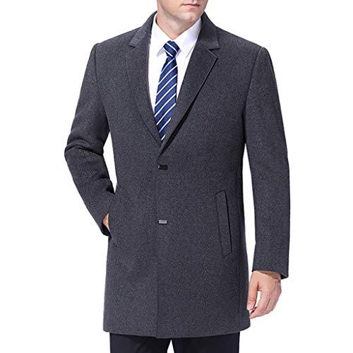 MERRYHE Mens di Lana del Cappotto di Trincea Slim Fit Giacca di Lana Tuta Sportiva del Cappotto Trench Inverno Caldo Cappotto Suit Coat,Grey-XXL