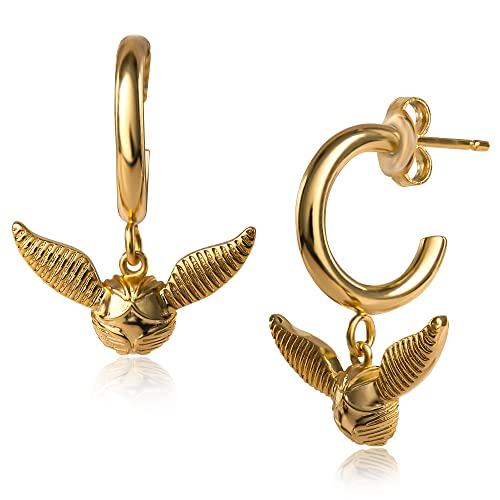 Harry Potter Yellow Gold Plated Golden Snitch Quidditch Hoop Earrings, Officially Licensed