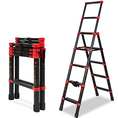 5 + 7 Extension Ladder Multi-Position A-Frame Telescoping Ladder - Aluminum Lightweight Adjustable Step Ladder - Portable Collapsible Ladder for RV Stairs (5+7 Steps)