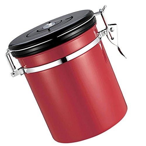 MagiDeal Kaffeedose für 500g Kaffeebohnen, Tee, Kakao, Edelstahldose - Rot, 1.5L