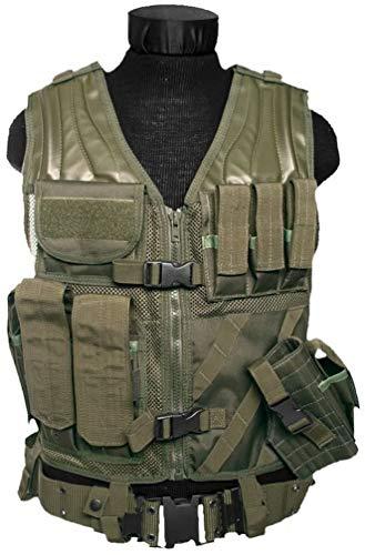 Mil-Tec - Gilet Militare Tattico USMC Traspirante con Tasche, Colore: Verde Oliva