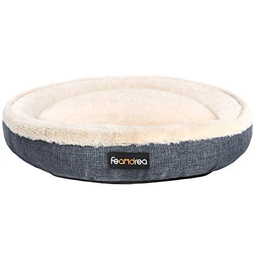FEANDREA Hundebett, Hundekorb, Katzenbett, Donut, Ø 75 cm, dunkelgrau PGW075G01
