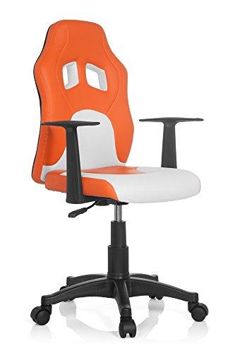 hjh OFFICE 670750 Kinder- und Jugenddrehstuhl Teen Game AL Kunstleder Orange/Weiß Schreibtischstuhl höhenverstellbar