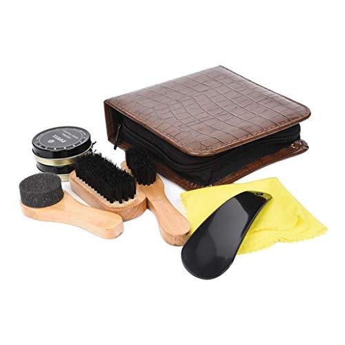 joyMerit Kit de 8 Piezas para el Cuidado de los Zapatos de Viaje, Kit de Pulido de Cepillo Brillante con Estuche de Cuero de PU