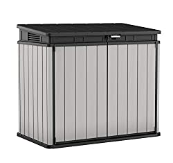 Ideal outdoor storage solution for garden tools, equipment and X2 240 L wheelie bins Thick, rib reinforced, double wall panels for greater strength with 1150 L capacity Piston assisted lid for easy use with lockable option for added security Made of ...