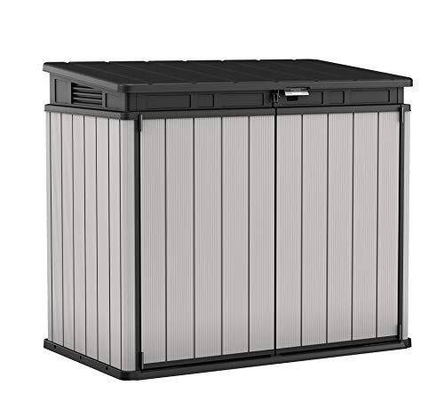 Keter Store It Out Premier XL Outdoor Garden Storage Shed, Grey and Black, 141 x 82 x 123.5 cm