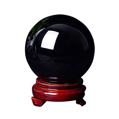 FENGJJ Natural Obsidiana Bola de Cristal Feng Shui Meditación Reiki Curación Adivinación Metafísica Hecha a Mano Esfera Pulida Eje de Piedra Chakra Aura con Soporte Decoración del hogar,5