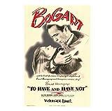 Vscdye Humphrey Bogart Lauren Bacall Walter para Tener Y NO Tener Póster de Arte de película clásica Impresión en lienzo-50x75cm Sin Marco