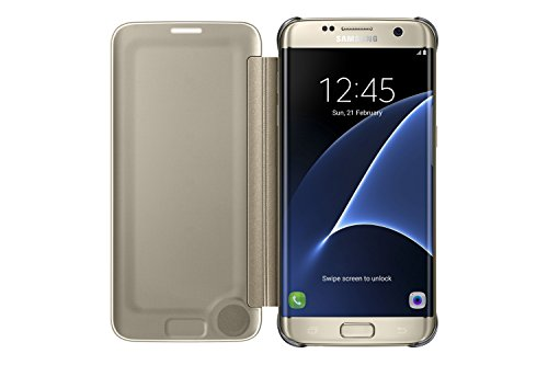 Samsung Clear View Cover - Funda para Samsung Galaxy S7 Edge, con esquinas de metal, color Dorado