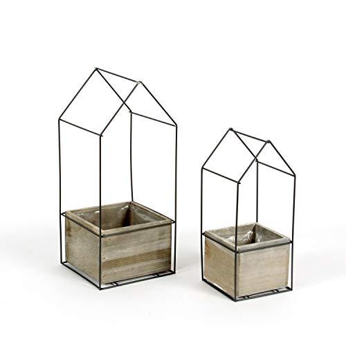 2er Set Metallhaus Drahthaus mit Holzkasten zum bepflanzen und dekorieren Landhausstil von Landgefühl