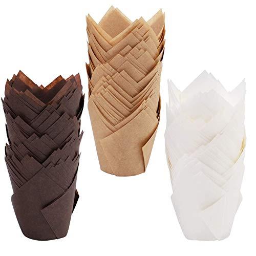 Estuches para Muffins De Color Marrón Chocolate, Envoltorios para Muffins/Cupcakes De Papel A Prueba De Grasa De Tulipán, Paquete De 600 Forros/Envoltorios Grandes para Muffins