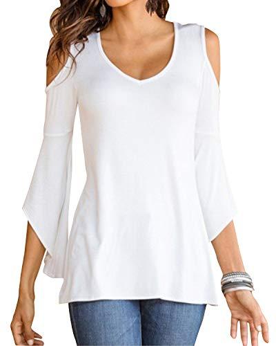 YOINS YOINS Bluse Damen Kurzarm Schulterfrei Oberteil Tops Damen Sommer Carmen Shirt Rundhals Einfarbig 3/4Ärmeln-Weiß EU46
