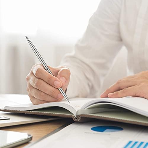 8 Piece Metal Ballpoint Pen Set, Metal Twist Black Ink Pen Slim Metallic Ballpoint Pens Writing Pen, Home School Office Supplies for Students Teachers, Gold, Rose Gold, Steel, Silver Photo #4