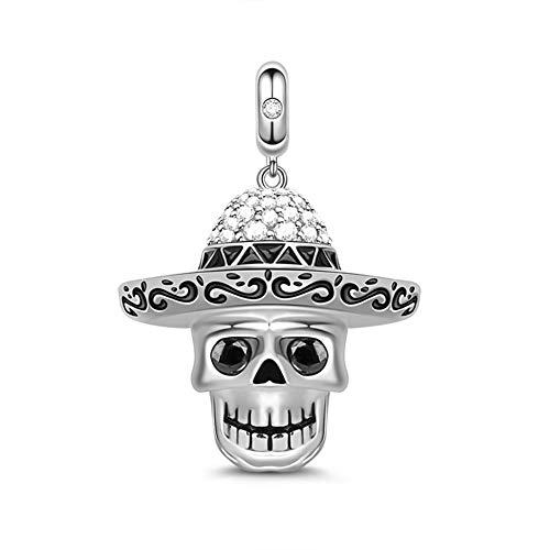 """Gnoce - Colgante de calavera de plata de ley """"Sunshine of Your Love"""" estilo mexicano para pulsera/collar, regalo de joyería para Halloween, Navidad, Año Nuevo"""