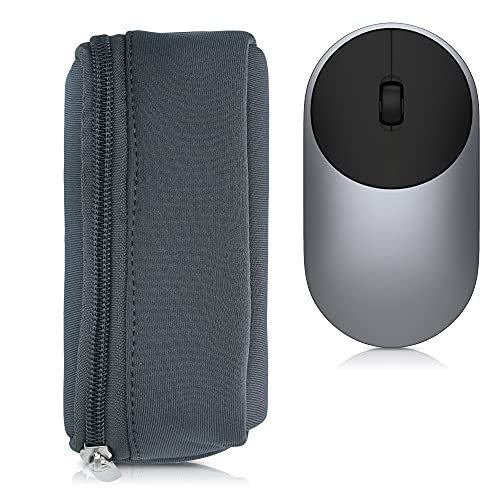 kwmobile Neoprene Pouch Compatible with Universal Wireless Mouse - Storage Carrying Case Dust Cover with Zipper - Grey