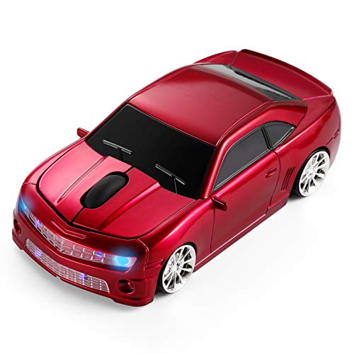BKLNOG Wireless Car Mouse [Updated] with LED Headlights, 1600 DPI Sports Car Shaped Mouse for Mac, Computers, Red