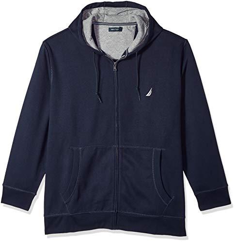 Nautica Men's Big and Tall Full-Zip Sweater Hoodie Sweatshirt, Navy, 3X-Large