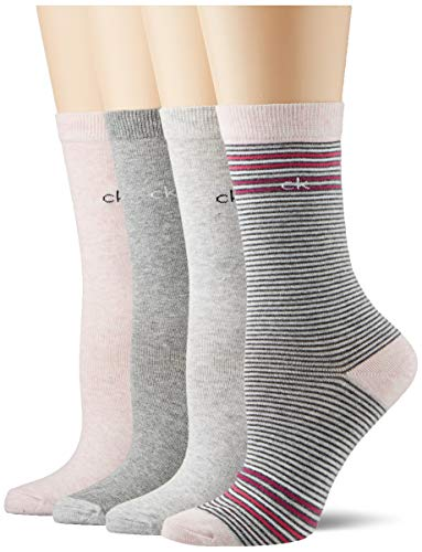 Calvin Klein Socks Womens Stripe Holiday Crew 4p Socks, pink combo, ONE SIZE