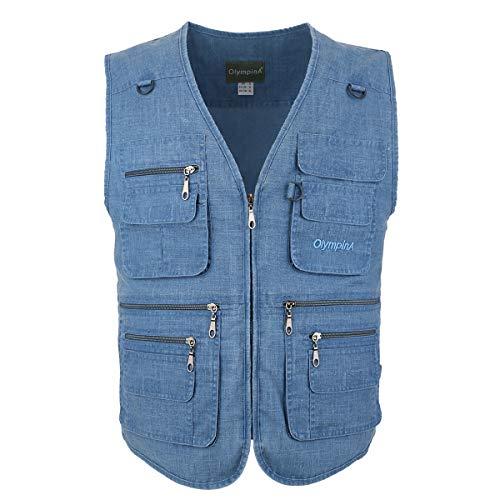 LUSI MADAM Men's Linen Outdoors Lightweight Travel Waistcoats with Pockets UK XL/Asia 4XL Bleu