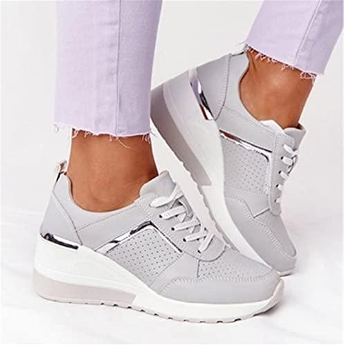 Faxkjeuls Chaussures de sport décontractées pour femme - Confortables - Gris - Pointure 43