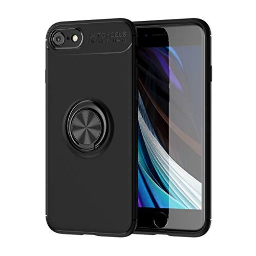 iPhone SE ケース 第2世代 リング付き iPhone 8 / iPhone 7 対応 360度回転 落下防止 耐衝撃 TPU カバー スタンド機能 薄型 軽量 指紋防止 車載ホルダー対応 iPhone SE 2020 ケース (iPhone SE 2020, ブラック)