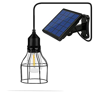 Metal Shade Solar Powered Pendant Light E27 Industrial Edison Bulb 16Ft Cord Outdoor Hanging Shed Light Black Mini Pendant Lamp with Changeable Solar Panel for Garden Patio Home Decorate