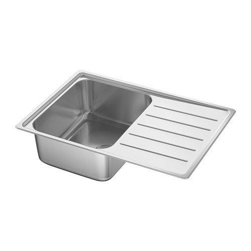 IKEA VATTUDALEN Einbauspüle 1 Becken; aus Edelstahl; inkl. LILLVIKEN Siphon; (69x47cm)