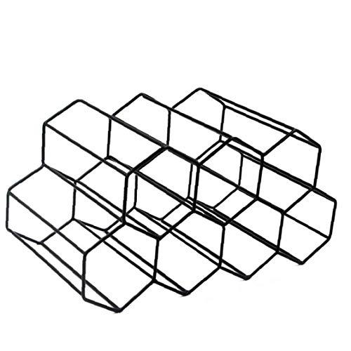 Yililay Autoportante botellero para el gabinete, Metal Cepillado botellero diseño geométrico para la Barra del mostrador en la Cocina