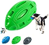vnice Indestructible Squeaky Dog Toy for Anxiety Relief,Elasticity Rubber Football,Puppy Toothbrush,Tough Interactive Pet Toy Ball for Small Medium and Large Breed(Green)