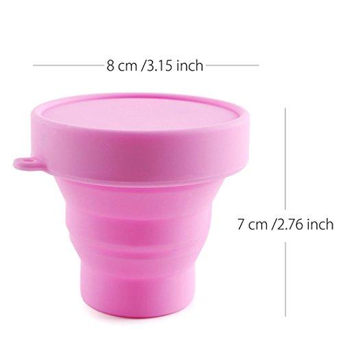 Silikon Tasse für Menstruationstasse Faltbar Silikontasse Tragbare Reinigungsbecher (Pink) - 2
