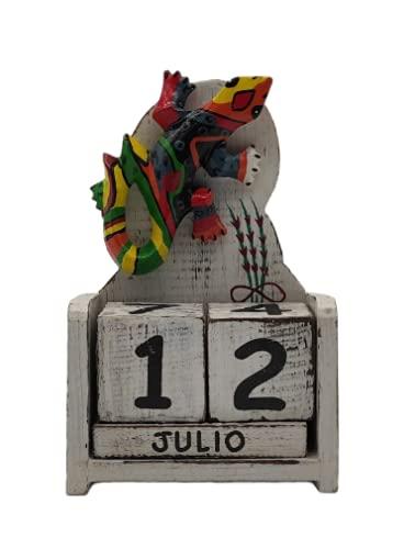 SusggO Calendario Perpetuo de Madera Gecko Animales Artesania Decoración para la Mesa, estantería, Escritorio, sobremesa (DECAPADO Blanco Gecko Mod 1 BG1)