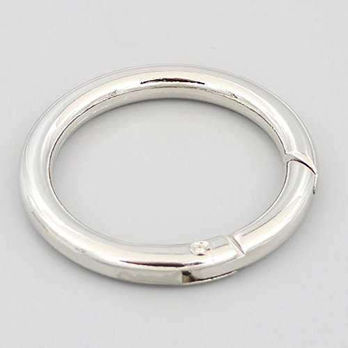 "Bluemoona 10 Pcs - 1.5"" 38mm Gate O Ring Round Carabiner Snap Clip Trigger Spring Keyring Buckle (Nickel)"