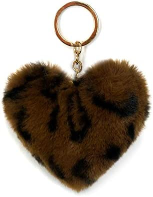 SIMPLICHIC Faux Animal Print Fur Ball Pom Pom Keychains Heart Shape Charm Dark Brown product image