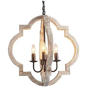 VILUXY Farmhouse Wood Chandelier Geometric Lantern...