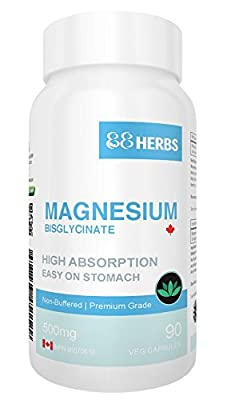 Magnesium Bisglycinate - Highest Absorption - Premium Grade - No Fillers - Non Buffered - 90 Veg Caps - 500mg Magnesium Bisglycinate per cap (50mg Elemental Magnesium) by BB&G HEALTH CORP.