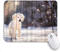PATINISAマウスパッド 冬の雪の上のゴールデンレトリーバーの子犬 ゲーミング オフィス最適 高級感 おしゃれ 防水 耐久性が良い 滑り止めゴム底 ゲーミングなど適用 マウス 用ノートブックコンピュータマウスマット