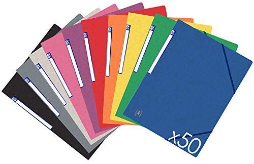 OXFORD TopFile+ Lot de 50 Chemises Cartonnées 3 Rabats Format A4 Fermeture Elastiques 10 Couleurs Assorties