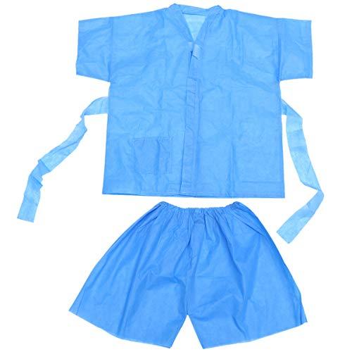 Exceart 1 Set Scrub Sets Non-Woven Medische Scrub Tops en Broeken Beschermend Pak Werkkleding Voor Vrouwen Mannen Werklaboratorium Benodigdheden