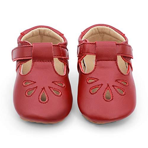 Zapatos para bebé en cuero de lujo para fiestas, bodas y ocasiones especiales. Cuero en rojo / azul marino. Primeros pasos, tallas 23 EU