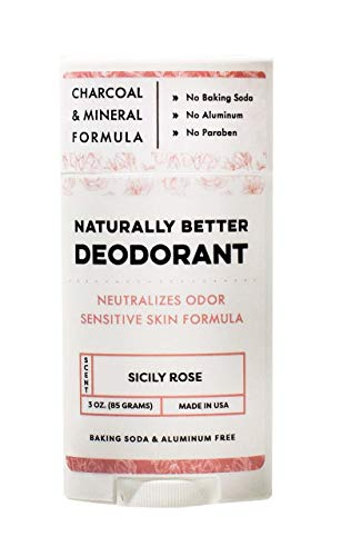 Sicily Rose Naturally Better Deodorant - Magnesium & Activated Charcoal, Sensitive Skin Formula, Aluminum-Free, Baking Soda-Free, All-Natural, Plant-Derived, Made in USA by DAYSPA Body Basics